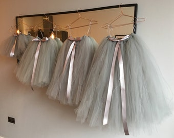 Long Grey Tutu,  Flower Girl Dress, Flower Girl Tutu, Silver Grey Tutu, Girls Tutu, Bridesmaid Tutu, Adult Tutu, Wedding Tutu, Tulle Skirt