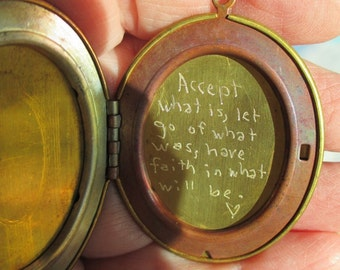 Vintage Brass Engraved Quote locket on vintage oxidized  brass chain