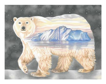 "Polar Bear Art Print, limited edition - ""Nanuq. The ever-wandering one"""