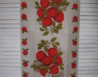 tea towel pure linen  vintage parisian prints apples and blossoms 28 1/2 in long