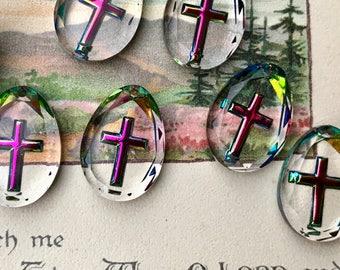 Vintage Swarovski Pendants, Vitrail Etched Pendant, Iridescent Cross Pendant, Religious Pendant, Christian Pendant, Western Germany, #363