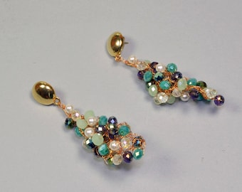 Pendant earrings natural copper wire with crystal means, stained glass and beads