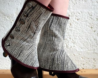 Spats - Grey - Steampunk, victorian, cosplay, costume, boot covers, please read description for more information