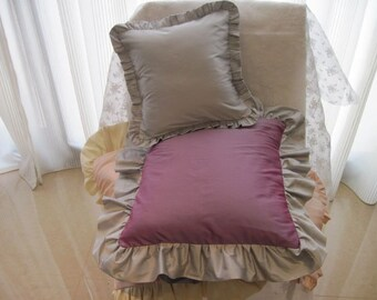 """The """"Couture Collection"""" - 16"""" X 16"""" Couture incandescent purple silk shantung hand-finished pillow cover with silk taffeta ruffle"""