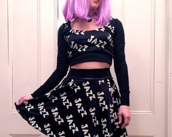 Black and White JAZZ Two Piece Crop Top and Circle Skirt Dress