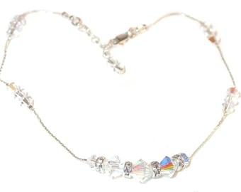 Swarovski Crystal Anklet Sterling Silver CLEAR AB Handcrafted