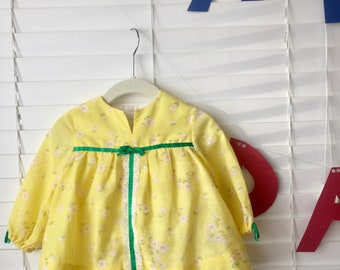 Vintage 60s 1960s yellow floral mod mini dress with bloomers baby toddler girl