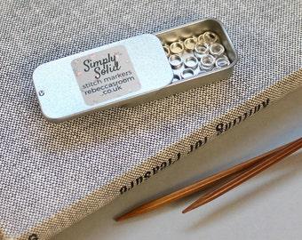 25 Mini Knitting Stitch Markers Bulk with tin - knitting stitch marker, SIMPLY SOLID, knitting markers, snag free markers, knitting supplies