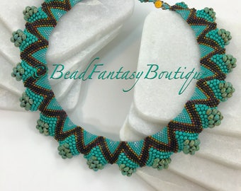 Flat Peyote Necklace- Wavy Necklace- Turquoise Necklace- Flat Cellini Necklace- Ruffled Necklace- Gift for Her- Free Shipping US only-
