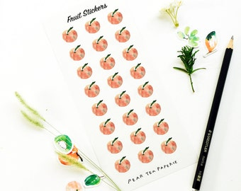 Peach Stickers, Fruit Stickers, Planner Ready Stickers, Weekly Stickers, Sticker Art, Erin Condren, Decor Stickers, Eatable Stickers