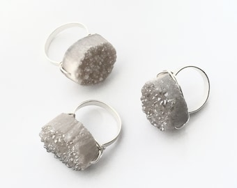Druzy Dance Ring-light grey crystal-silver plated- specify yo size