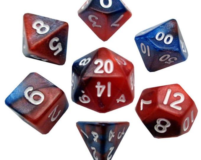 7-Die Set Combo: 10mm Red-Blue/White - MTD412 - Metallic Dice Games