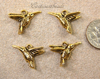 Hummingbird Charms, Hummingbird Drops, TierraCast, Double Sided Charms, Nature Charms, Gold Plated Lead Free Pewter, 4 Pieces,2026
