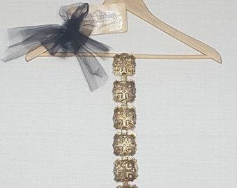 Vintage brass- African Cross inspired- vintage belt