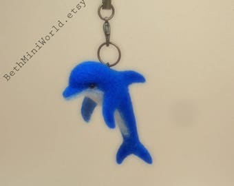 Pendant-Charm- Needle felted Dolphin Miniature- Dauphin- Bag, Cell Phone, Purse, Necklace,...-Gift for her- Ooak- Ready to Ship