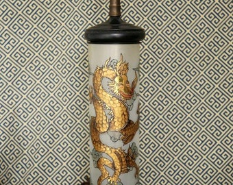 Mid-Century Hand-Painted Glass Dragon Lamp