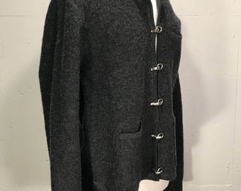 90s Pierre Cardin grey wool unstructured jacket silver toggle buttons warm coat extra large
