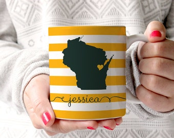 Personalized Coffee Mug -Wisconsin state love- other states available