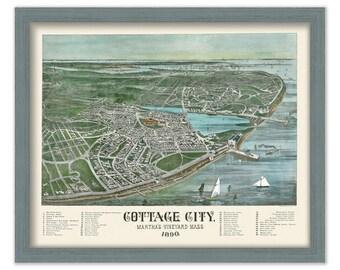 Cottage City {Oak Bluffs], Martha's Vineyard Birds Eye View 1890 Colored Reproduction