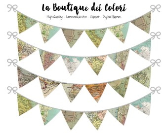World Maps Bunting Banners Party Flags clipart, garland, Explorer pennant banner Clip Art. Printable, Personal / Commercial Use. PNG