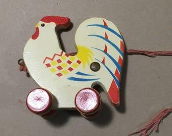 Vintage German Wood Pull Toy Chicken