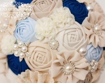 Fabric Bouquet, Vintage Bouquet, Rustic Bouquet, Unique Wedding Bridal Bouquet, blue ivory