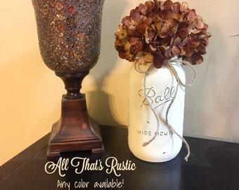 Painted Mason Jars, Half Gallon Mason Jar, Large Mason Jar, Mason Jar Decor, Centerpiece, Wedding Decor, Rustic Home Decor, LARGE Mason Jar