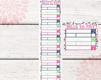 Monthly Bill Tracker Stickers | Berrylicious Color Palette | LB132 |