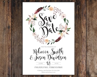 Fall or Winter Burgundy and Peach Flowers with Feathers 5x7 Save the Date Invitation