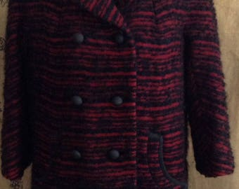 1960's coat, winter wool coat burgundy and black