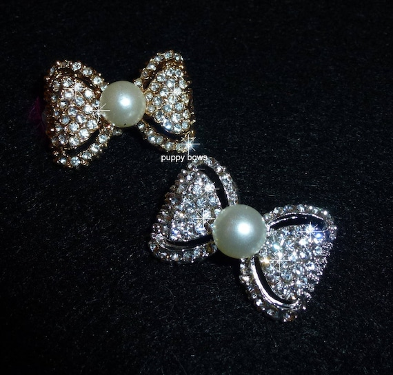 Puppy Bows ~Silver or Gold pearl  rhinestone pet hair clip barrette BOWTIE shape~USA seller