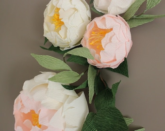 Paper peonies for wall, Wall flowers, Wedding paper peony flowers, Wedding flower wall, Paper flower leaves backdrop, Wedding decoration
