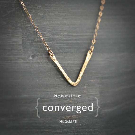 Converged - Textured Skinny Chevron 14k Gold Filled Necklace
