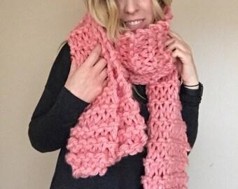 Salmon pink cozy bulky hand knit scarf warm long wide