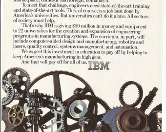 1983 IBM Advertisement Helping Engineers Students Univesities Programs 80s Technology Gears Turning Automation Laser Robotics Wall Art Decor