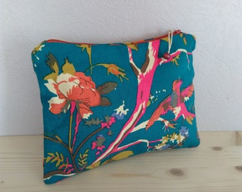 Pouch canvas blue-green print flowers bird leaves