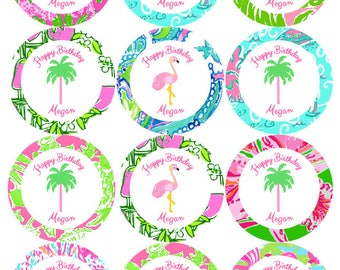 Lilly Pulitzer Palm Tree Round Cupcake toppers Set of 12 ( printable, or printed )