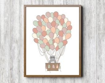 Cute Raccoon & Hot Air Balloon Poster - Whimsical Nursery / Girls Room Wall Art - Woodland / Forest Animal Print Muted Colors - Digital