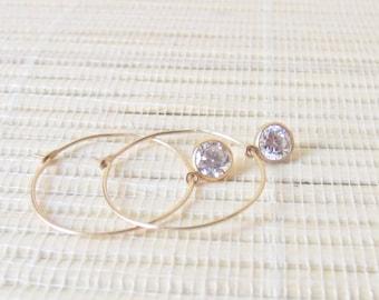 Cubic Zirconia Gold Fill Hoop Dangle Earrings April Birthstone 6mm