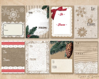 Printable PDF Gift Tags - Rustic Holiday Winter Christmas - Burlap Lace Wood Pine Snowflakes