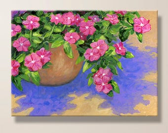 Pink Flowers, Pot Of Flowers, Floral, Nature, Painting, Kitchen Art, Giclee Print, Large Canvas, Art Print, Home Decor, Gift for Her