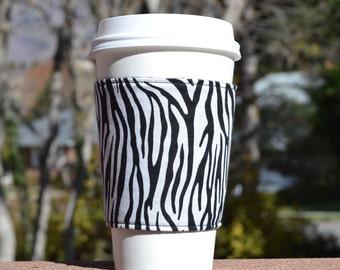 FREE SHIPPING UPGRADE with minimum -  Fabric coffee cozy / cup holder / coffee sleeve  - Wild zebra print