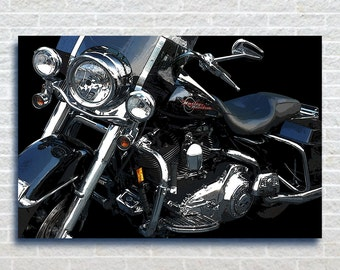 Black HD, Harley Davidson ,Vintage Motorcycle,Classic Harley,Stretched Canvas, Christmas, Art Print ,Decor,Birthday,Special Gift, Decor