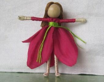 Hot Pink Fairy Doll, Garden fairy, Flower fairy doll, small fairy doll