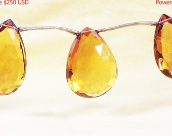 20% Discount, Natural Citrine, 24*31 MM, 21*33 MM, 17*31 MM Size, Almond Pear Shape, 3 Pieces