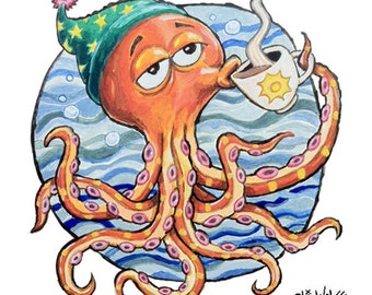 Sleepy Octopus -- 8x10 Art Print