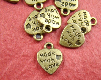 50% OFF SALE - 20pcs 12mm Antique Bronze Made With Love Charm Pendant AB567