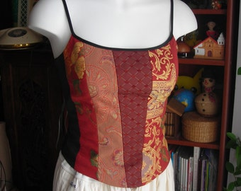 Vintage Brocade Bustier Top. Size 2 or XS. Fitted Corset With Thin Straps. Fully Lined. Black, Deep Red, Gold. Pre Loved
