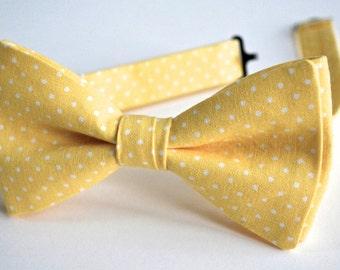 Mens bow ties,yellow and white cotton bow ties for men,yellow wedding accessories for men,yellow