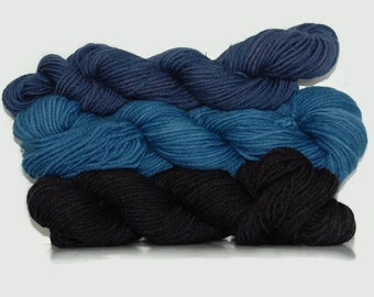 Natural Sock yarn 135 g / 4.75 ounce, hand dyed  with logwood and natural indigo